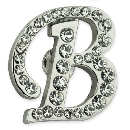 Rhinestone Letter B Pin Front