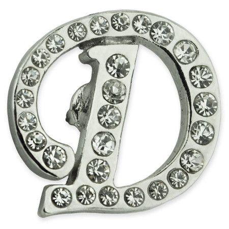 Rhinestone Letter D Pin Front