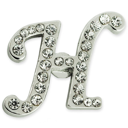 Rhinestone Letter H Pin Front