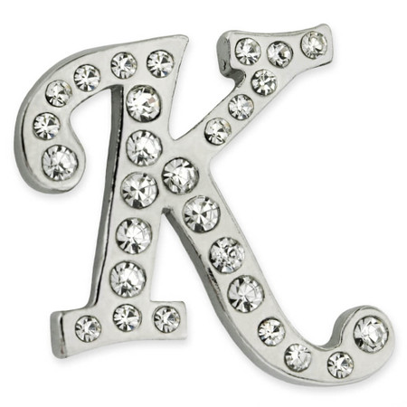 Rhinestone Letter K Pin Front