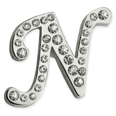 Rhinestone Letter N Pin Front