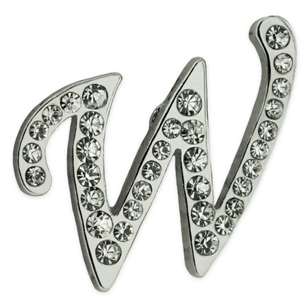 Rhinestone Letter W Pin Front