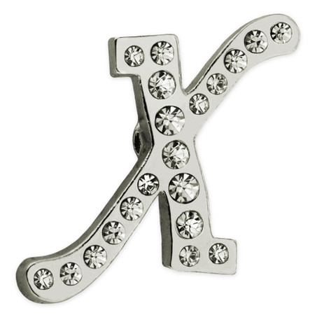 Rhinestone Letter X Pin Front