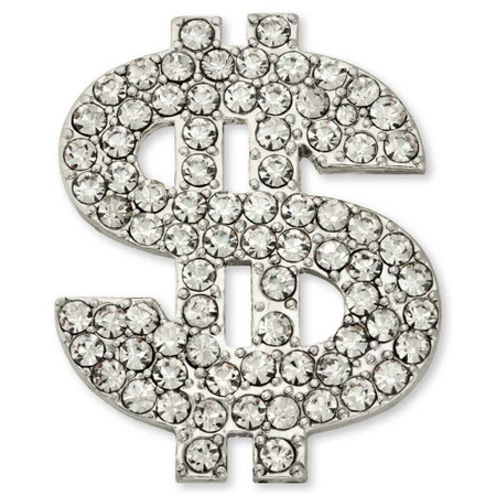 Rhinestone Dollar Sign ($) Pin Front