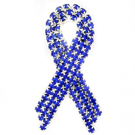 Blue Rhinestone Ribbon Pin