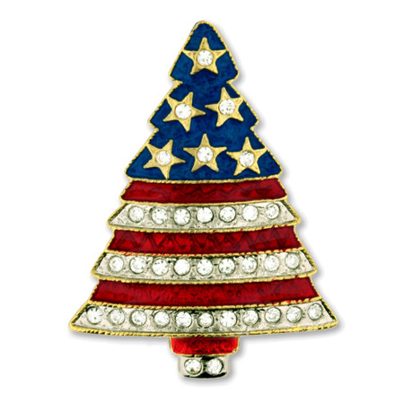 Rhinestone Patriotic Christmas Tree Pin Front