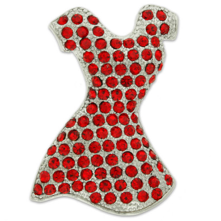Rhinestone Red Dress Brooch