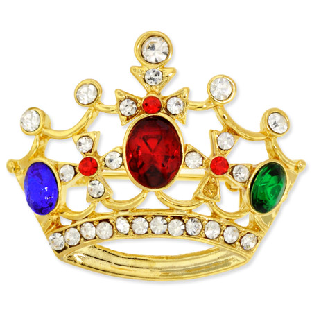 Crown Pin with Colored Stones