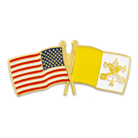USA and Vatican City Flag Pin Front