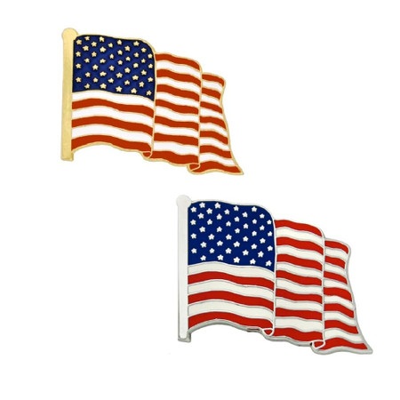 Made in USA American Flag 2-Pin Set