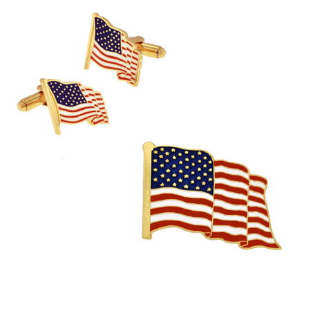 American Flag Cufflinks and Pin Set - Gold