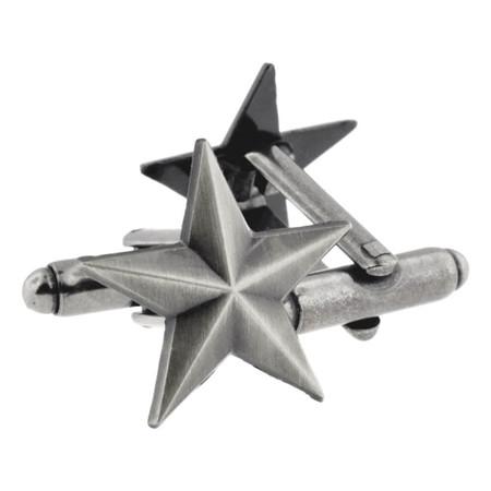 Antique Nickel Star Cufflink Set Alt