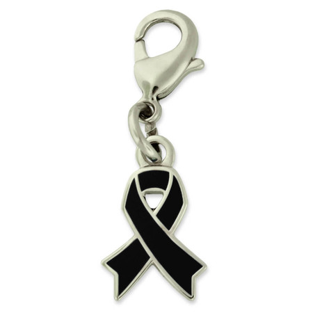 Black Awareness Ribbon Charm