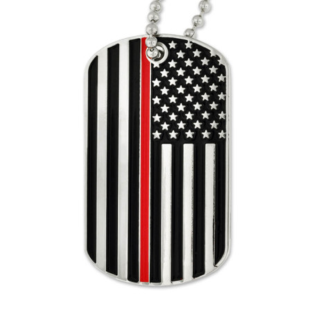 Thin Red Line Dog Tag - Engravable Front