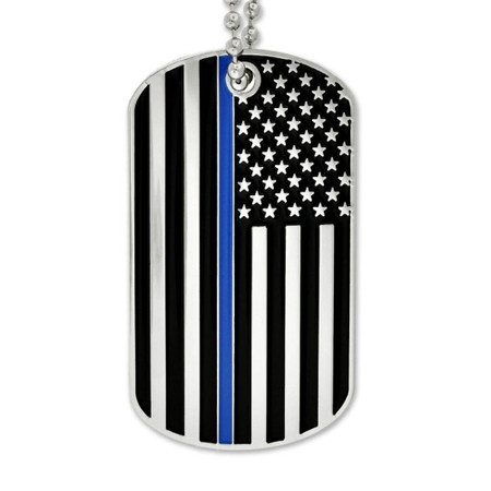 Thin Blue Line Dog Tag - Engravable Front