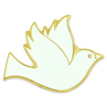White Dove Pin w/ Magnetic Back Front