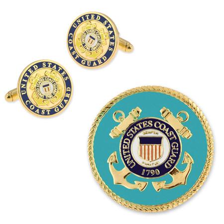 U.S. Coast Guard Cufflinks and Pin Set