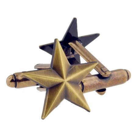Antique Gold Star Cufflink Set Alt