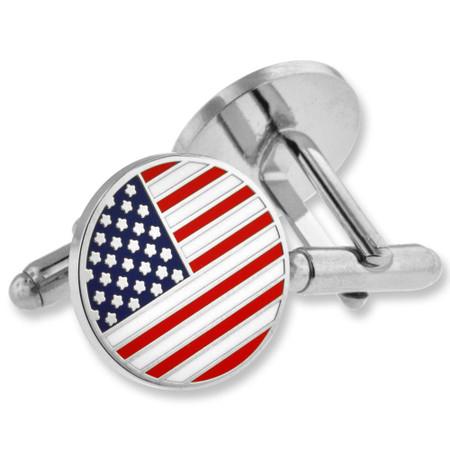 Round American Flag Cufflink Set Alt