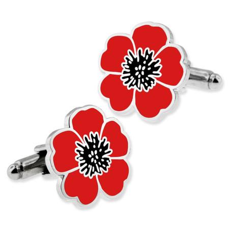 Poppy Flower Cufflink Set Front