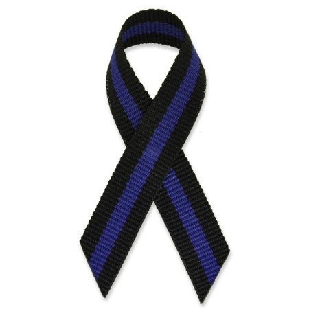 Black with Blue Stripe Cloth Ribbon Pin Pack of 25 Front