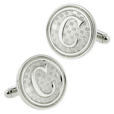 Letter C Cufflink Set Silver