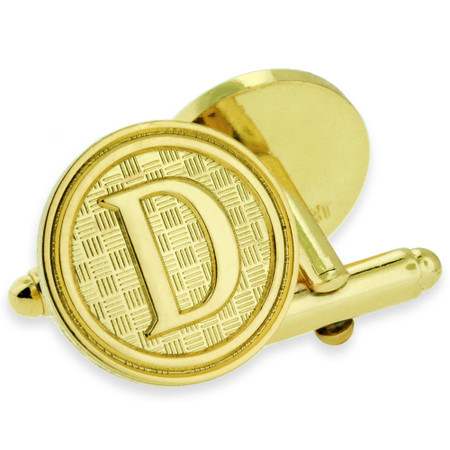 Letter D Cufflink Set Alt Gold