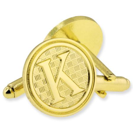 Letter K Cufflink Set Alt Gold