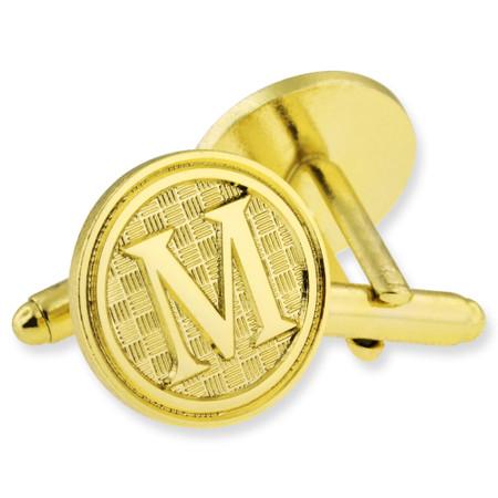 Letter M Cufflink Set Alt Gold