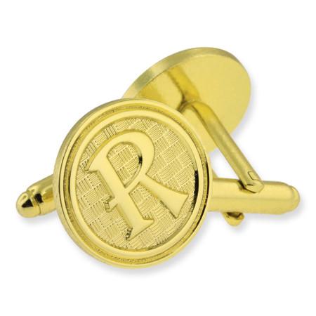 Letter R Cufflink Set Alt Gold