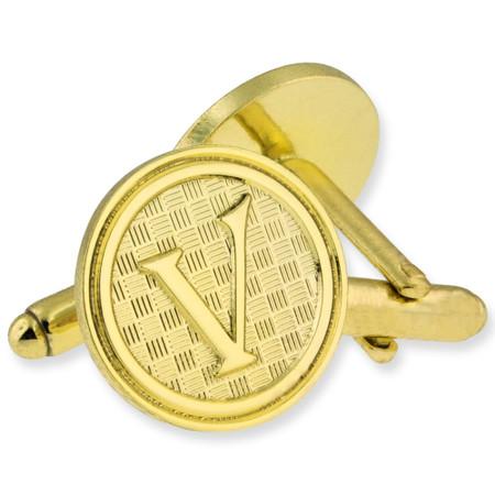 Letter V Cufflink Set gold side