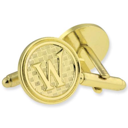 Letter W Cufflink Set gold side