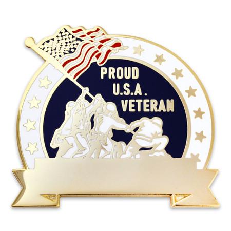 Engravable Military Veteran Pin Front