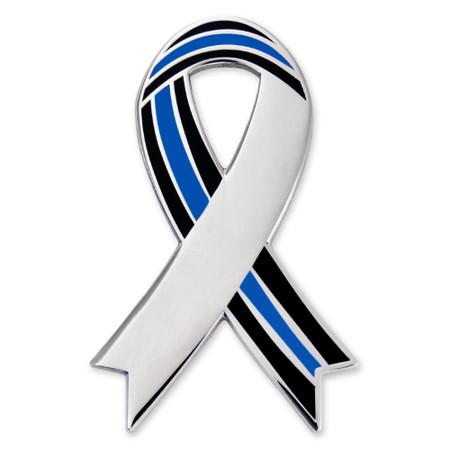 Engravable Thin Blue Line Ribbon Lapel Pin Front