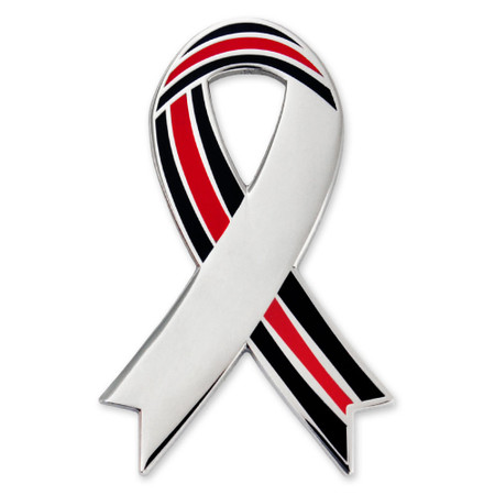 Engravable Thin Red Line Ribbon Lapel Pin Front