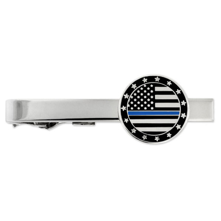 Blue Line Tie Clip on card Engravable Front