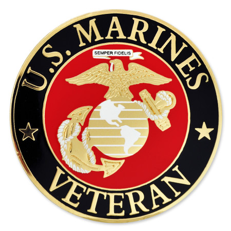 Officially Licensed U.S. Marine Corps Veteran Pin Front