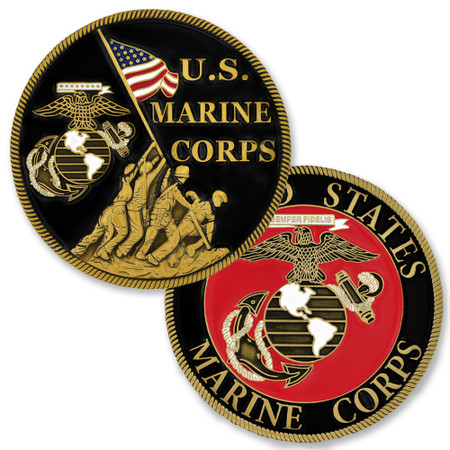Officially Licensed U.S. Marine Corps Coin Front & Back