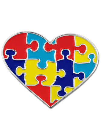 Autism Heart Shaped Puzzle Pin Front