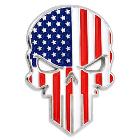 American Flag Skull Lapel Pin front