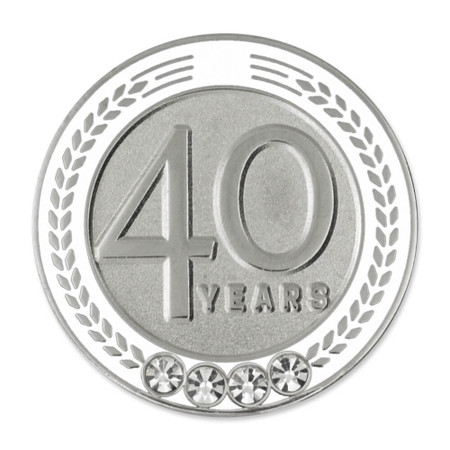 Years of Service Pin - 40 Years White