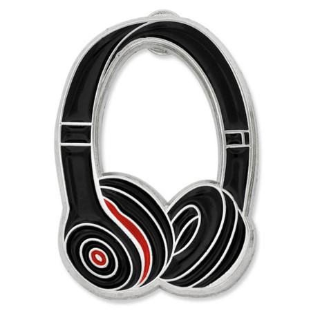 Headphones Pin - Black front