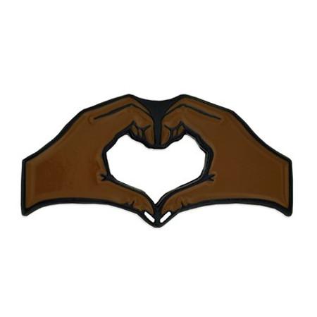 Dark Skin Tone Heart Hands Pin front