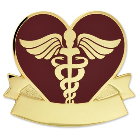 Engravable Caduceus Heart Pin Front
