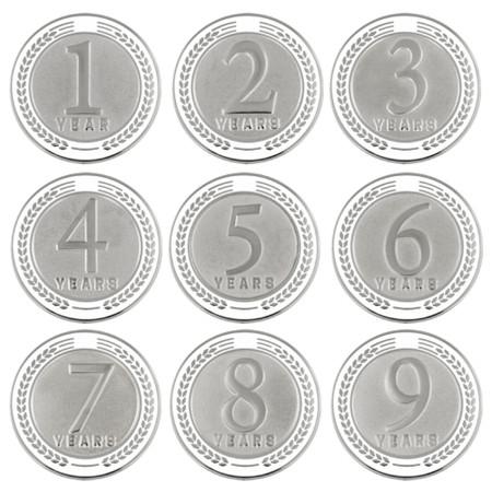 Years of Service Pin - 1-9 Years - White