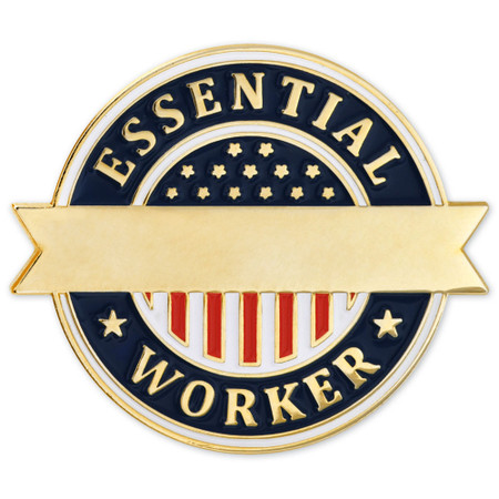 Engravable Essential Worker Lapel Pin Front