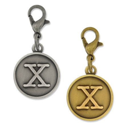Initial X Charm Gold and Silver
