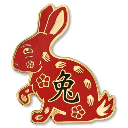 Chinese Zodiac Pin - Year of the Rabbit Front