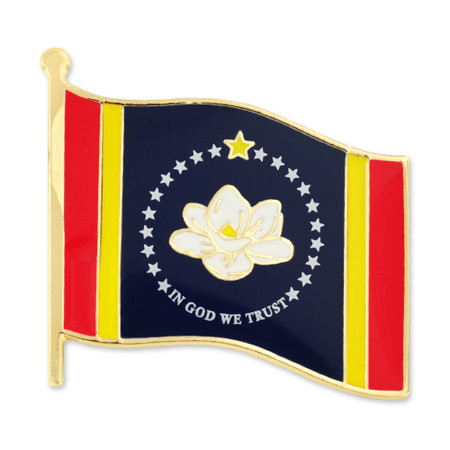 Mississippi State Flag Pin Front