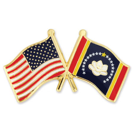 Mississippi and USA Crossed Flag Pin Front